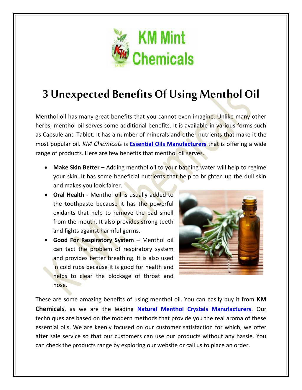 PPT - 3 Unexpected Benefits Of Using Menthol Oil PowerPoint