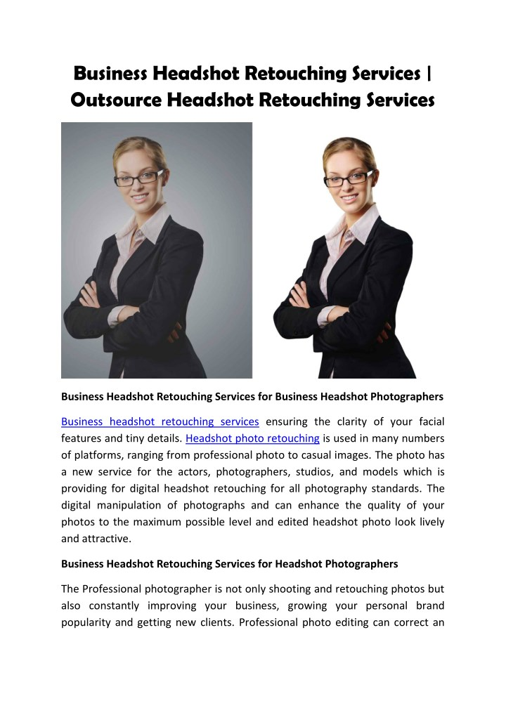 business headshot retouching services outsource n.