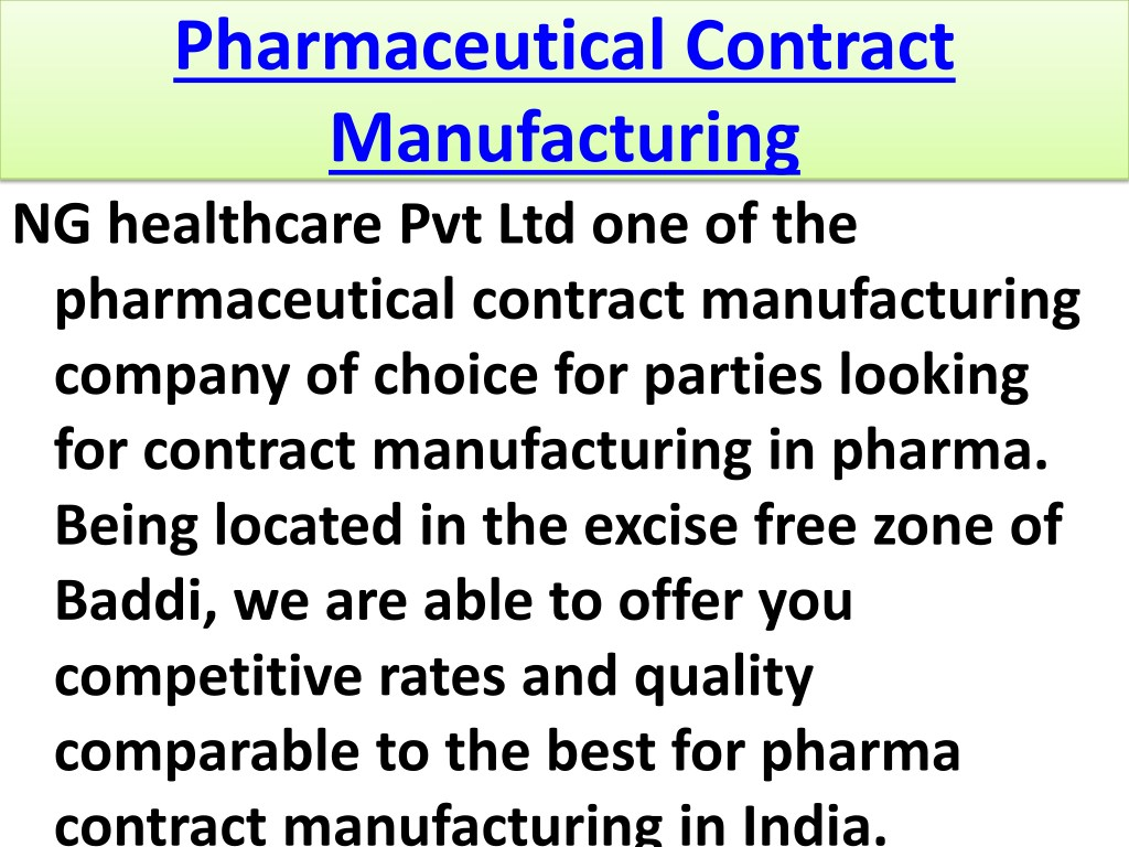 PPT - Pharmaceutical Contract Manufacturing PowerPoint
