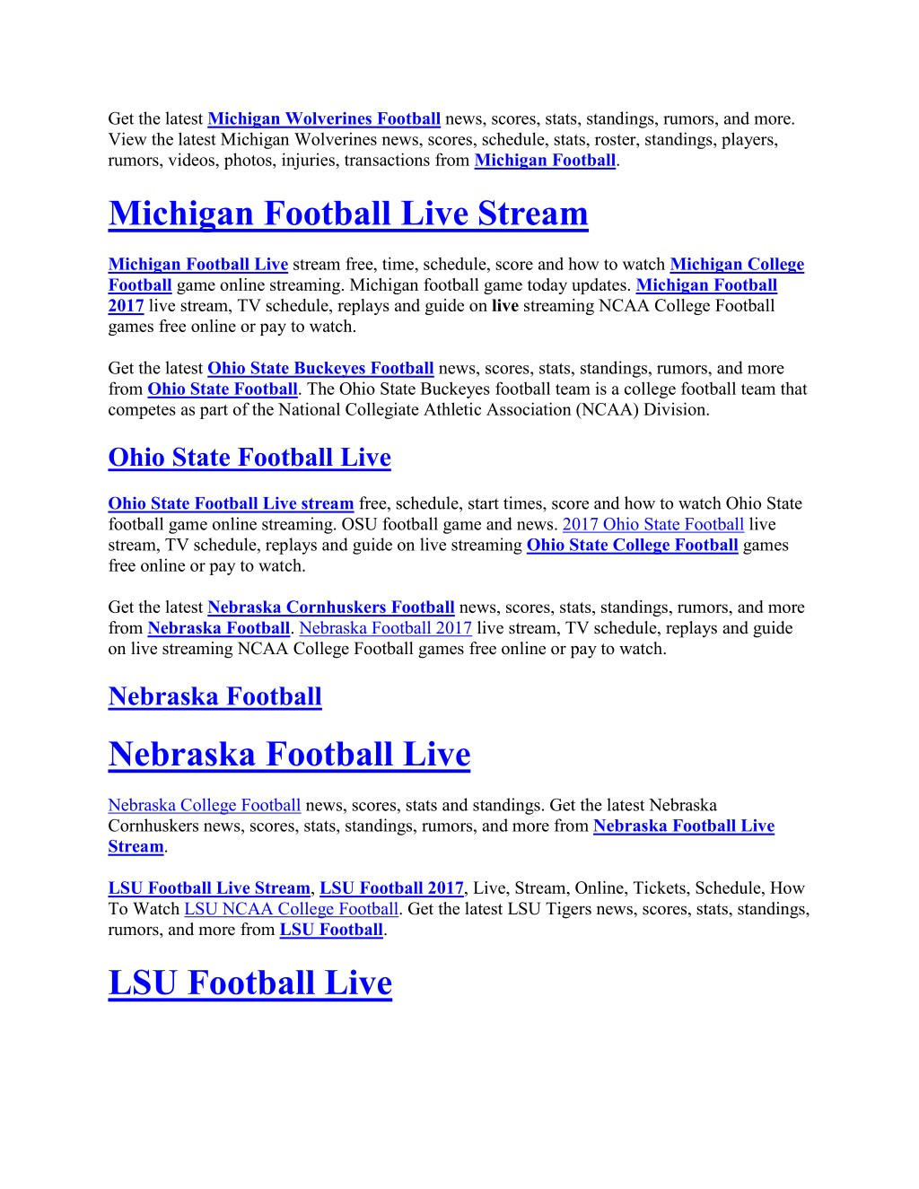 Ppt College Football Games Live Stream Powerpoint Presentation