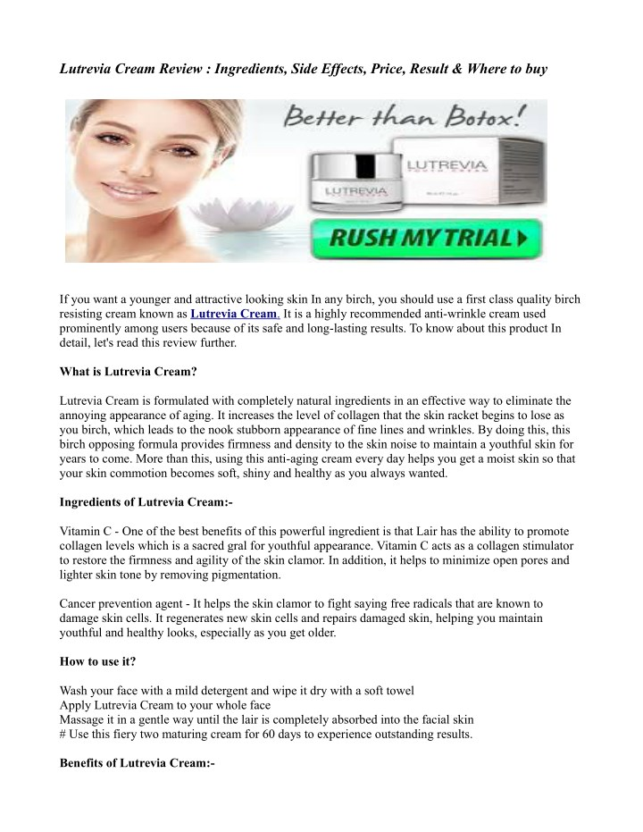 lutrevia cream review ingredients side effects n.