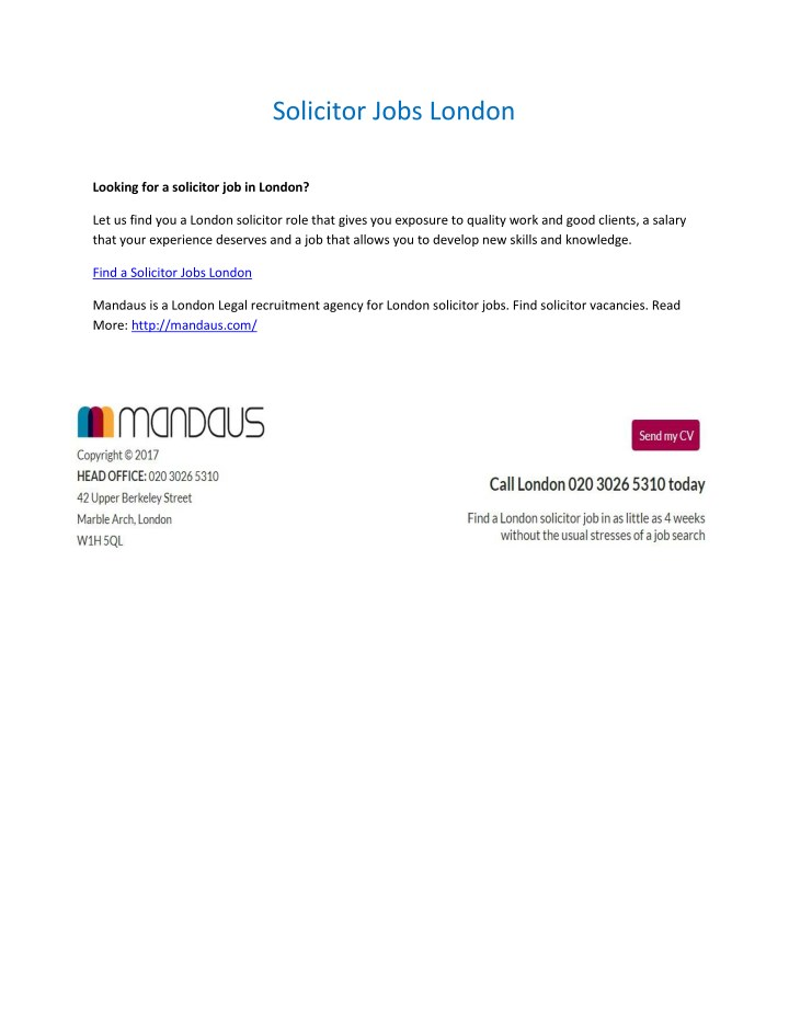 solicitor jobs london n.
