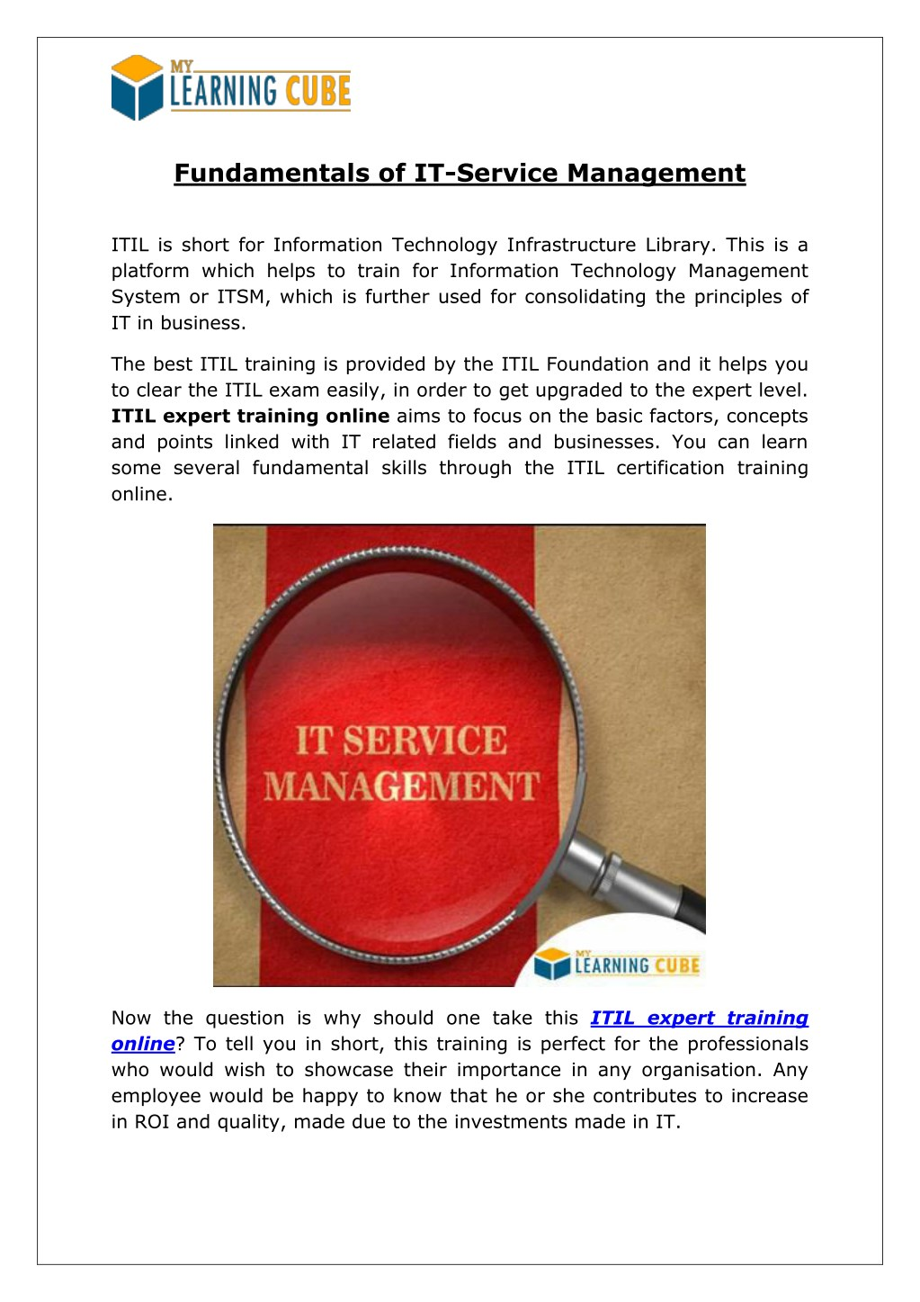 Ppt Fundamentals Of It Service Management Mylearningcube