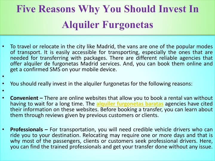 Five reasons why you should invest in alquiler furgonetas