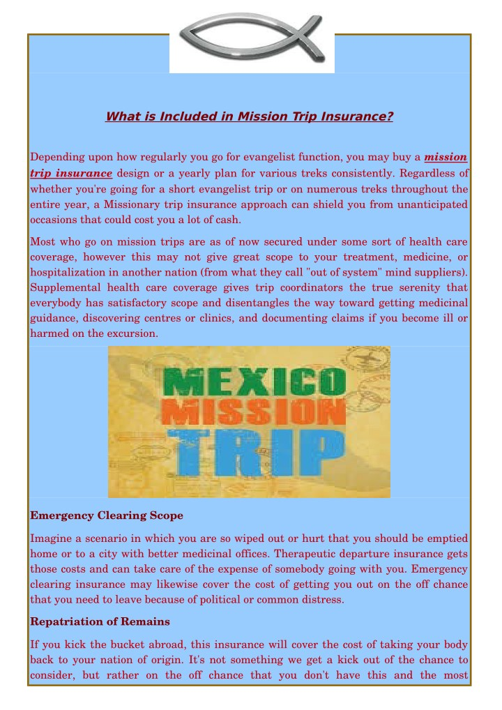 What is included in mission trip insurance