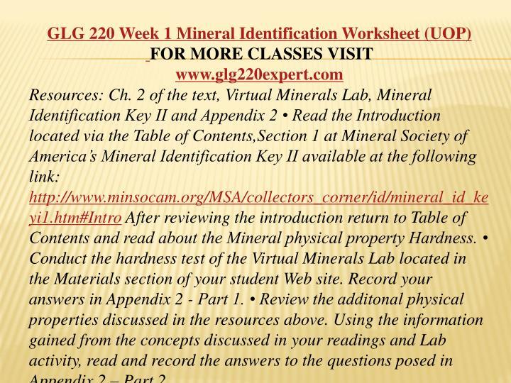 glg 101 appendix c mineral lab