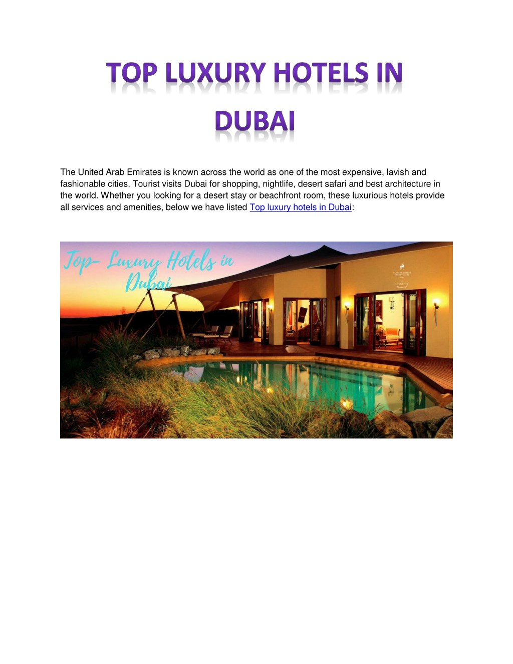 Ppt Top Luxury Hotels In Dubai Powerpoint Presentation Id 7717325