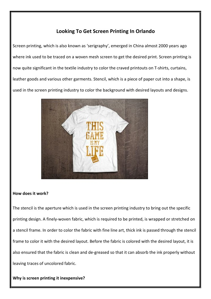 PPT - Looking To Get Screen Printing In Orlando PowerPoint