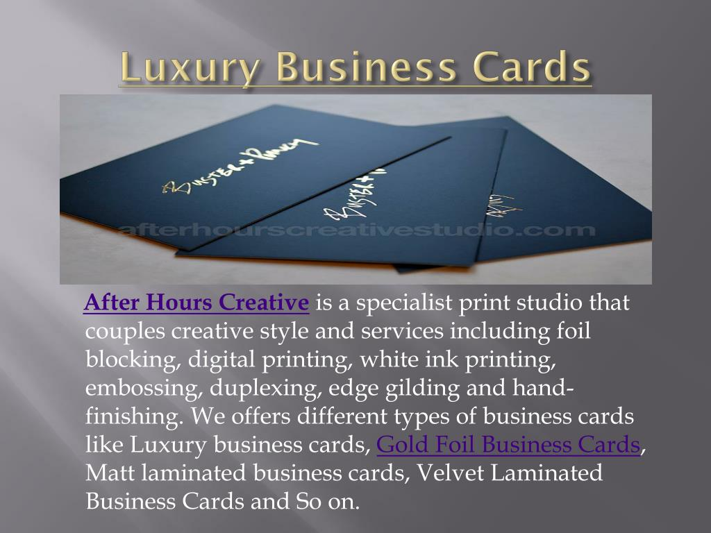Ppt Luxury Business Cards Powerpoint Presentation Id7718575