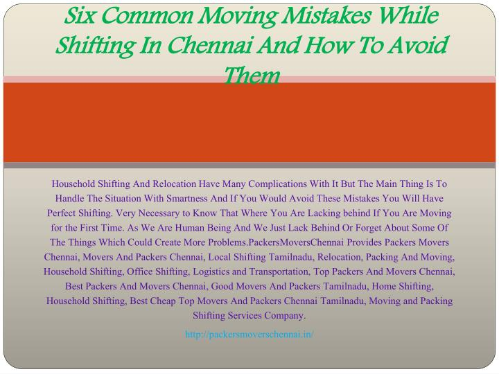 six common moving mistakes while shifting in chennai and how to avoid them n.