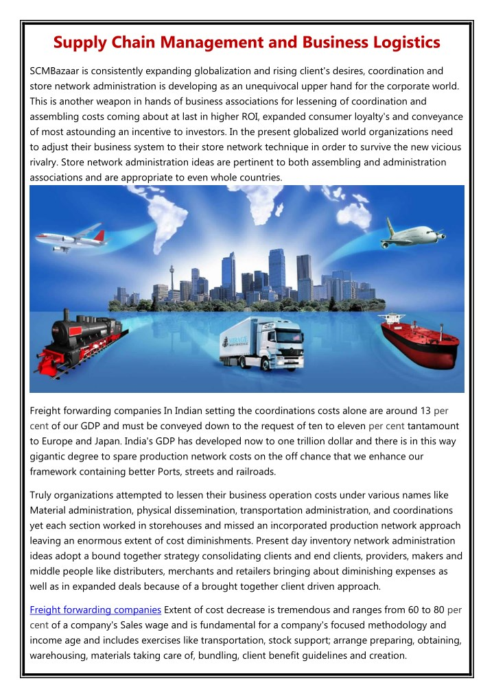 supply chain management and business logistics n.