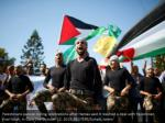 palestinians parade during celebrations after
