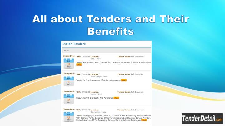 PPT - All about Tenders and Their Benefits PowerPoint