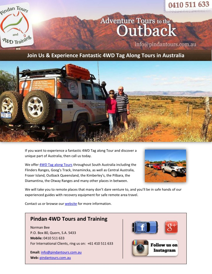 join us experience fantastic 4wd tag along tours n.