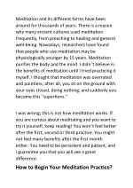 meditation and its different forms have been