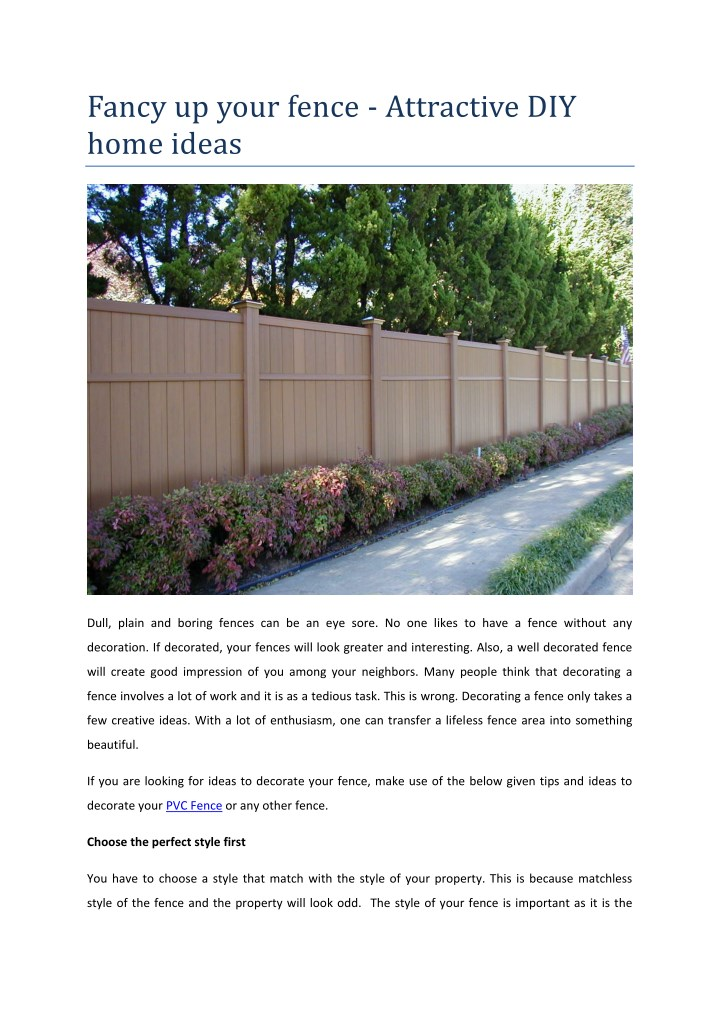 Ppt Fancy Up Your Fence Attractive Diy Home Ideas Powerpoint