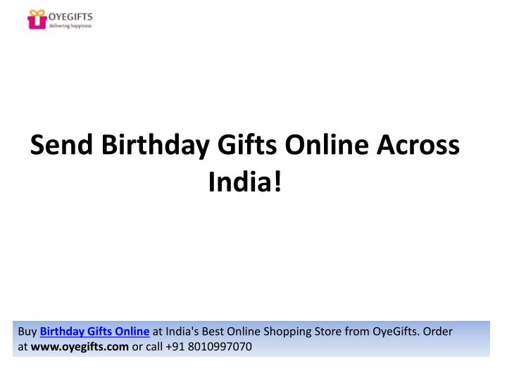 Send Birthday Gifts Online Across India