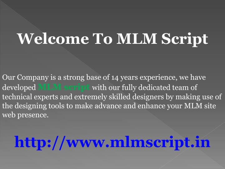 welcome to mlm script n.