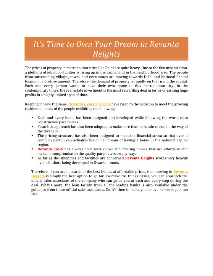 it s time to own your dream in revanta heights n.