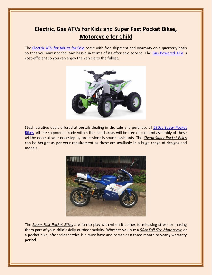 PPT - Electric, Gas ATVs for Kids and Super Fast Pocket
