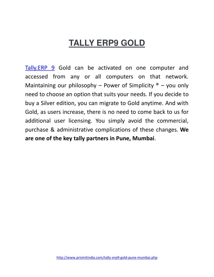 PPT - PDF on best Tally Accounting Software|Tally ERP9 Gold
