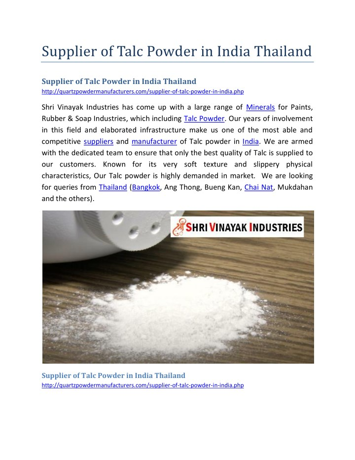 supplier of talc powder in india thailand n.