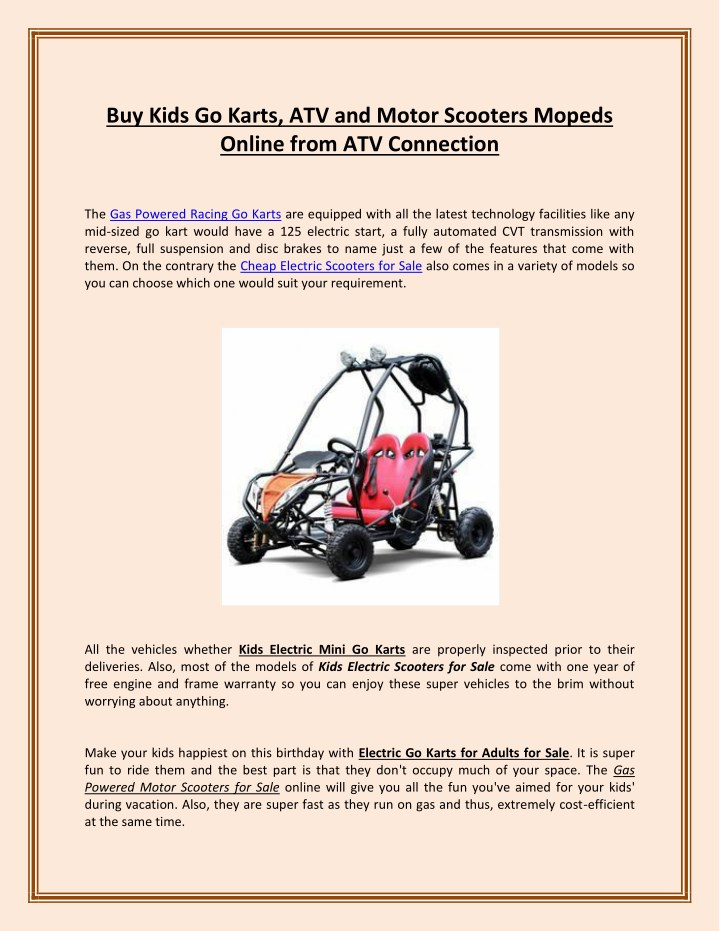PPT - Buy Kids Go Karts, ATV and Motor Scooters Mopeds