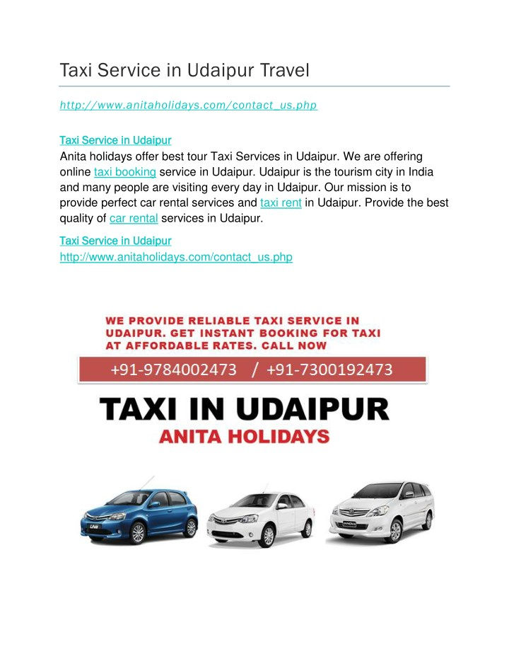 taxi service in udaipur travel n.