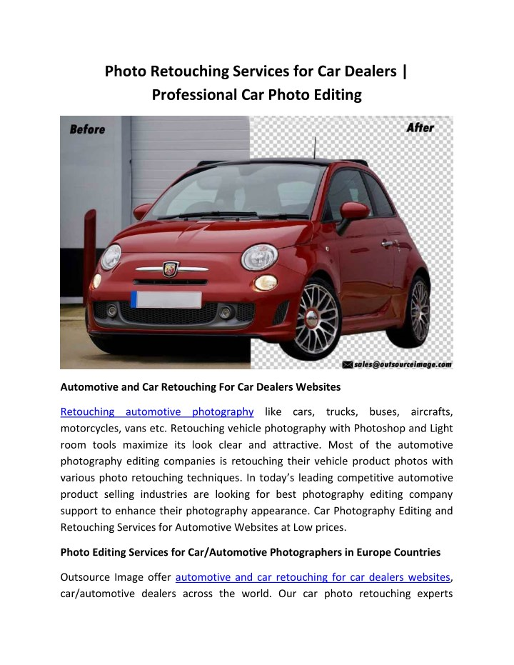 photo retouching services for car dealers n.