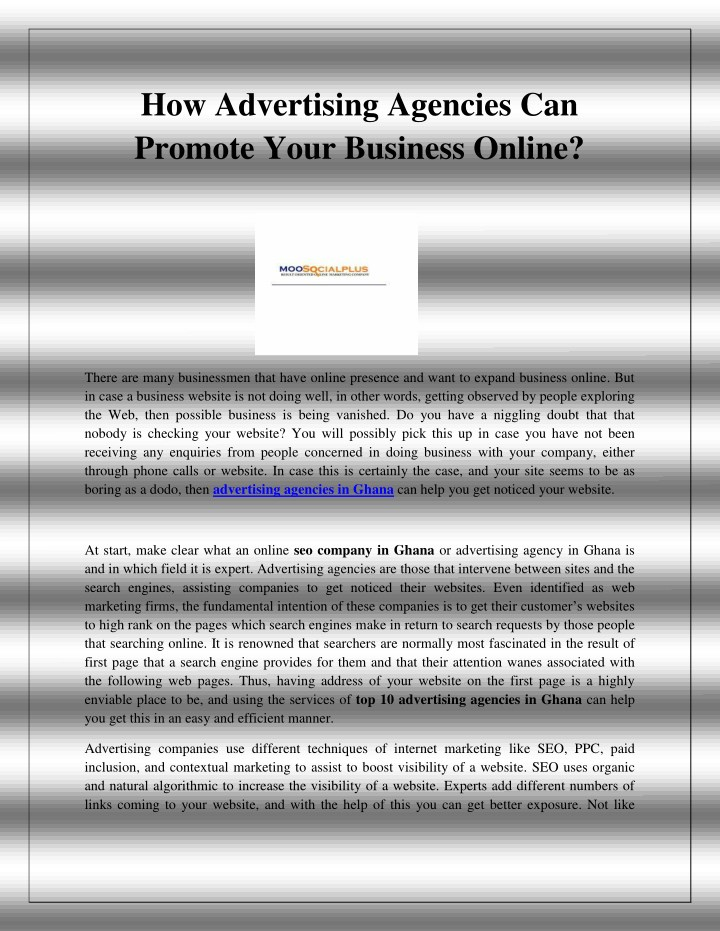 how advertising agencies can promote your n.