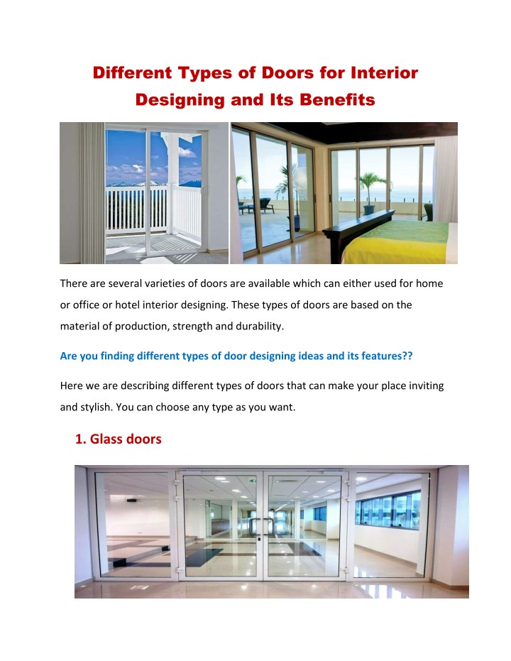 Ppt Most Popular Doors For Interior Designing And Its Benefits Powerpoint Presentation Id 7726755