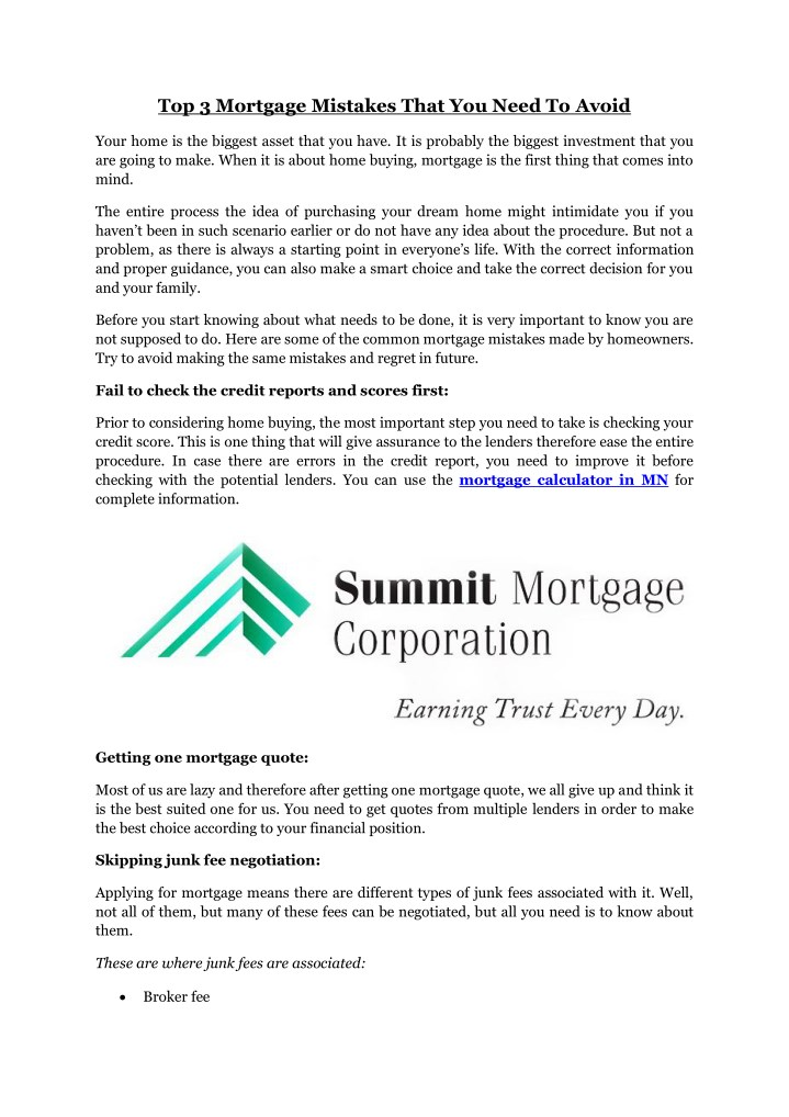 top 3 mortgage mistakes that you need to avoid n.