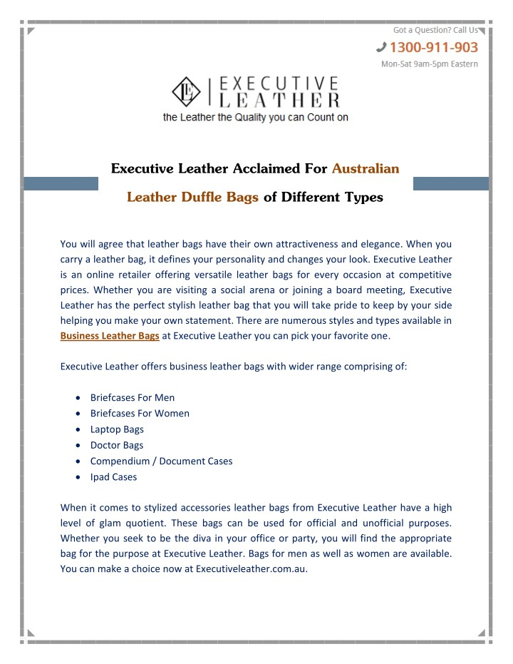 executive leather acclaimed for australian n.