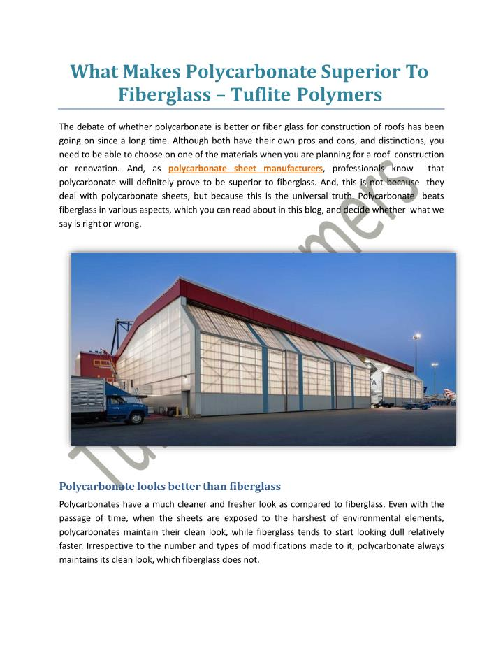 what makes polycarbonate superior to fiberglass tuflite polymers n.