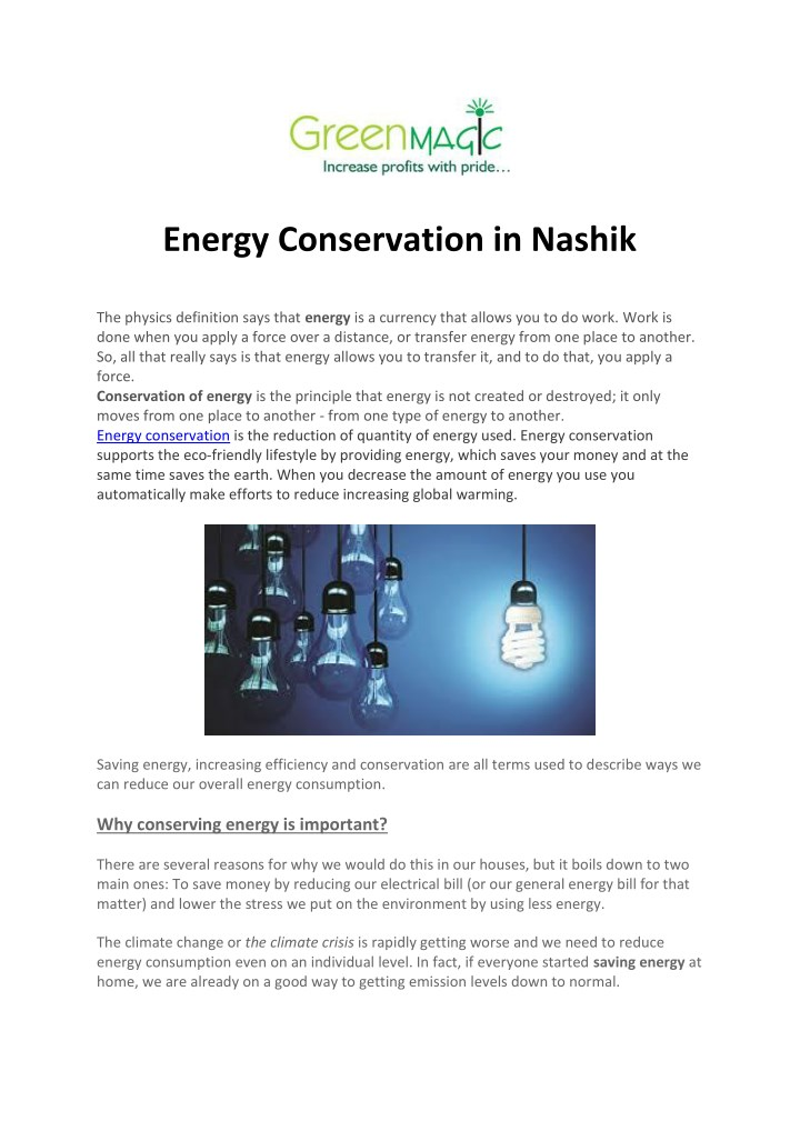 PPT - Energy Conservation in Nashik PowerPoint Presentation