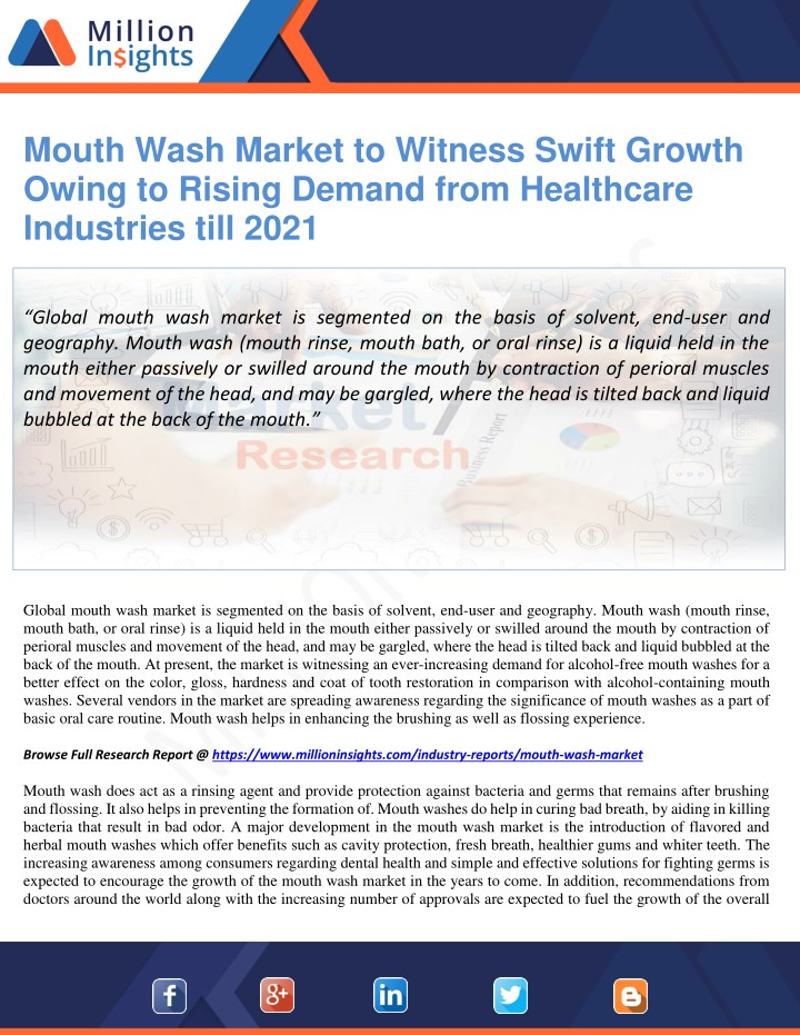 mouth wash market to witness swift growth owing n.