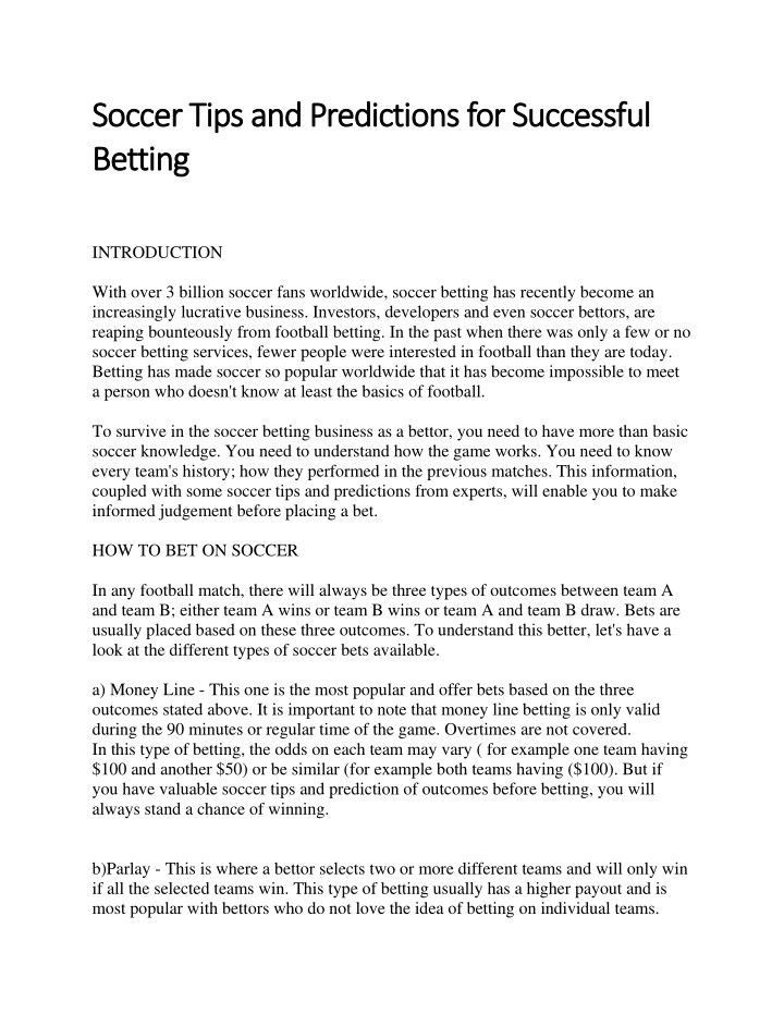 soccer tips and predictions for successful soccer n.