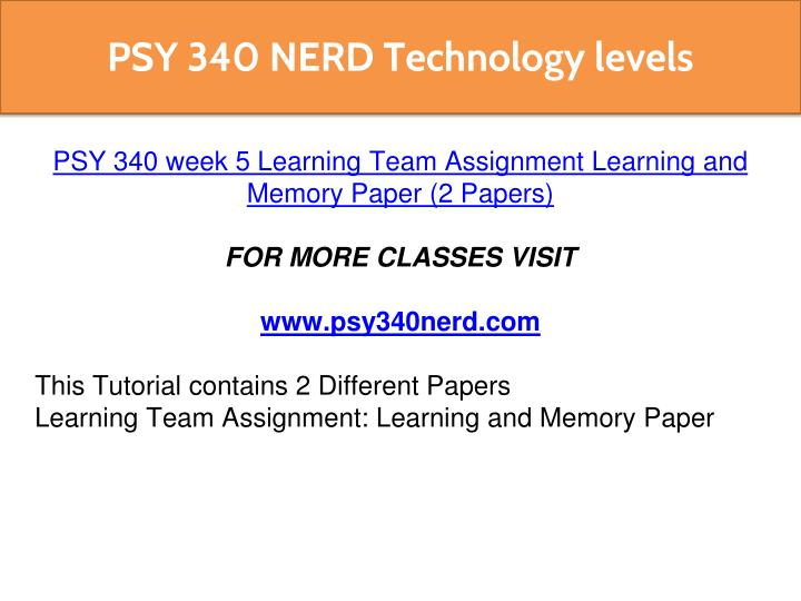 learning and memory paper Read this essay on he relationship between learning and memory come browse our large digital warehouse of free sample essays get the knowledge you need in order to pass your classes and more.
