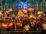 pro unity demonstrators wave spanish and catalan