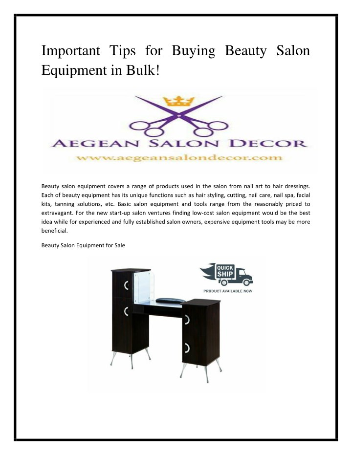 important tips for buying beauty salon equipment n.