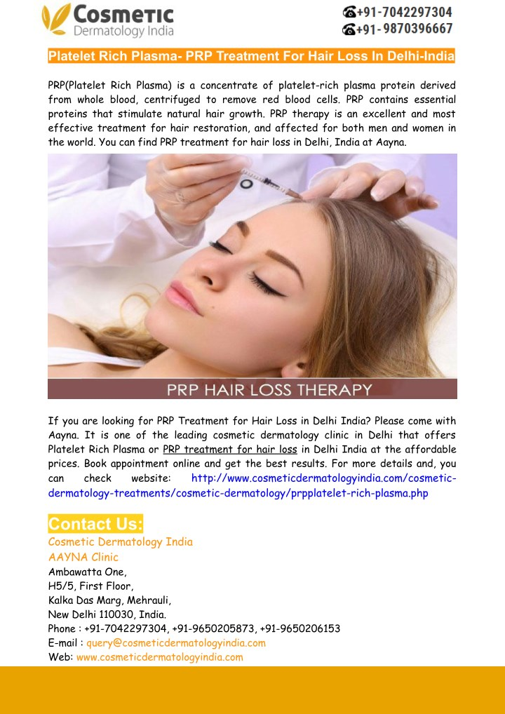 Ppt Prp For Hair Loss Treatment In Delhi India Powerpoint