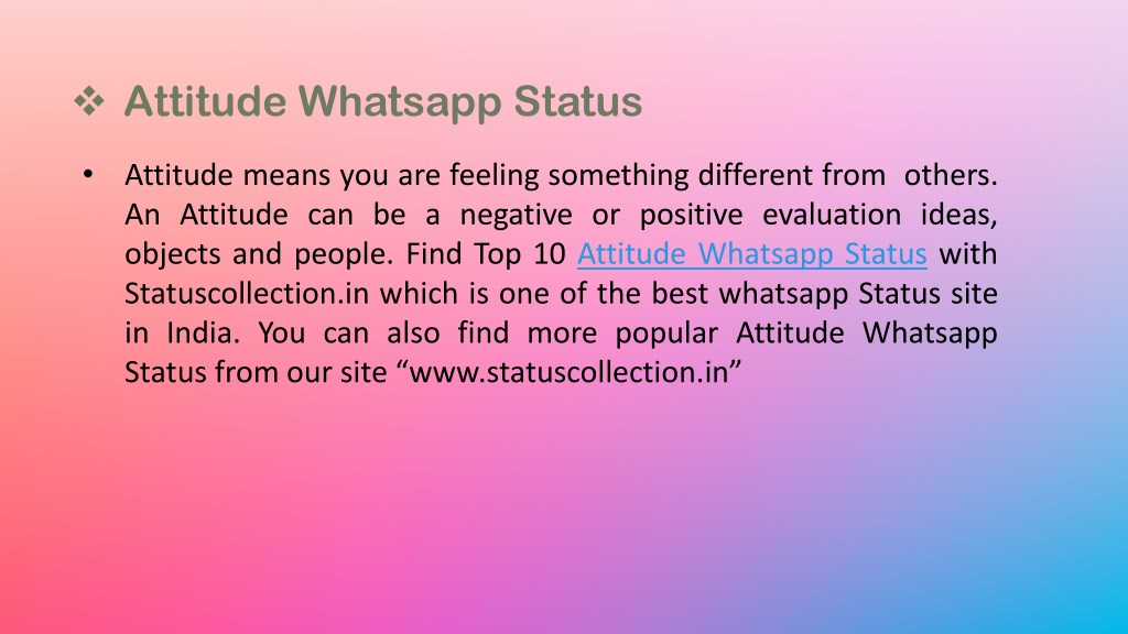 PPT - Top 10 Attitude Whatsapp Status PowerPoint Presentation - ID