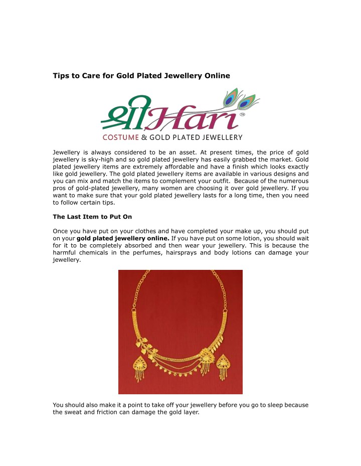 tips to care for gold plated jewellery online n.