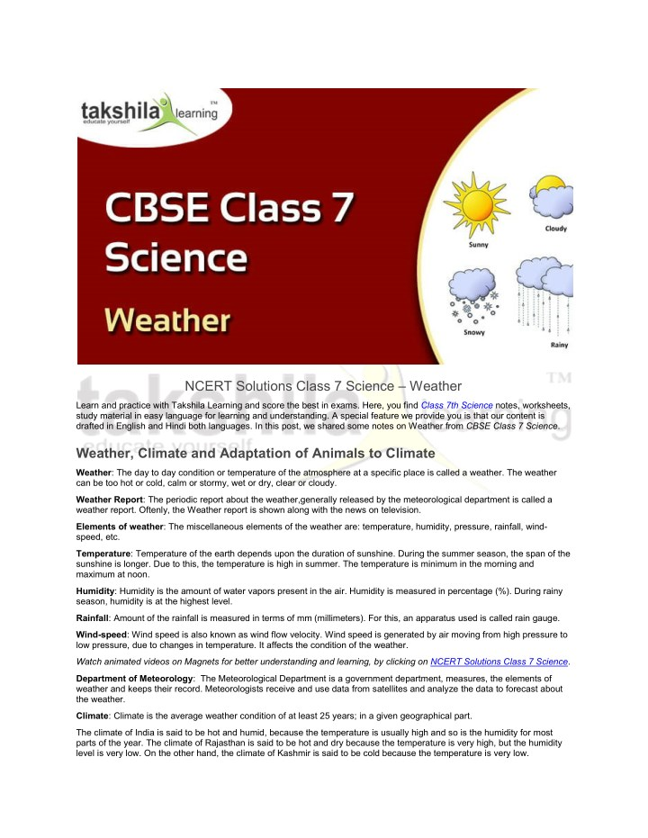 PPT - CBSE / NCERT Solutions Class 7 Science - Weather