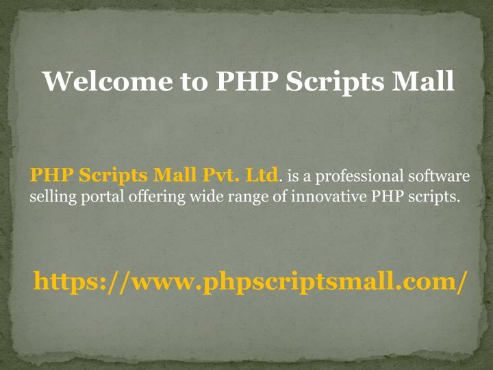 welcome to php scripts mall n.