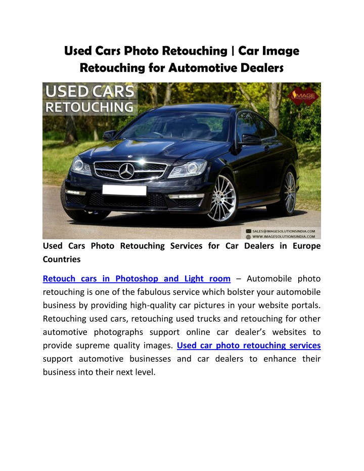 used cars photo retouching car image retouching n.