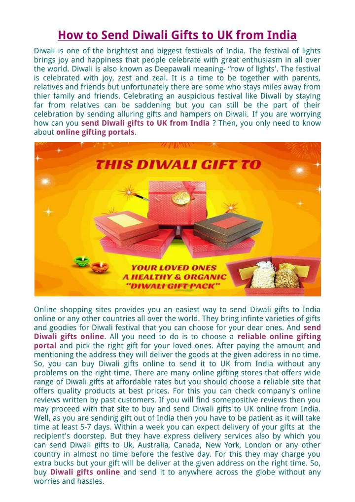 how to send diwali gifts to uk from india n.