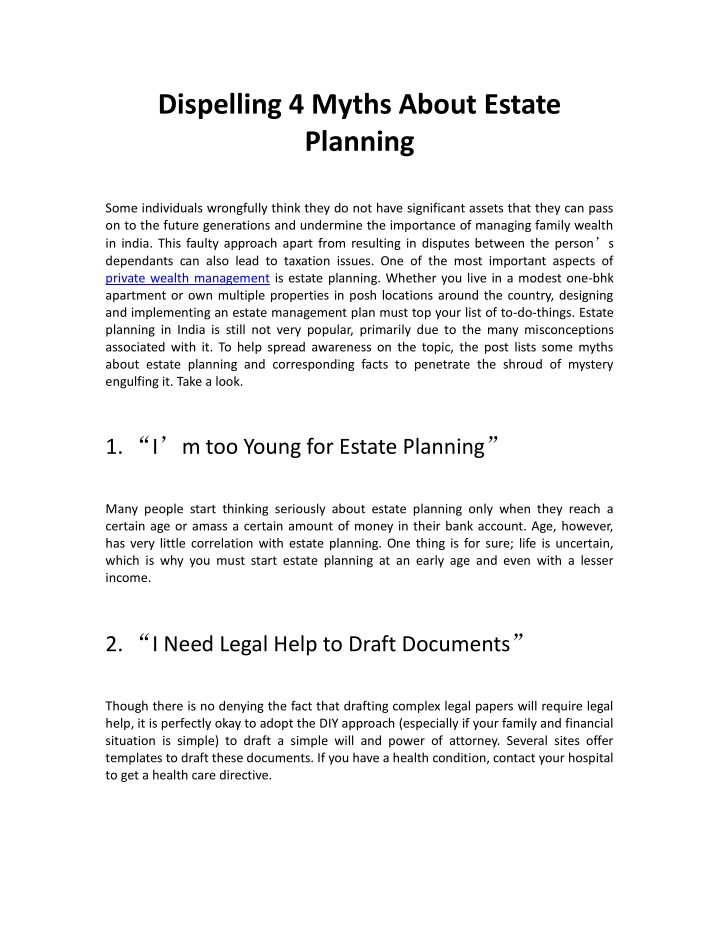dispelling 4 myths about estate planning n.