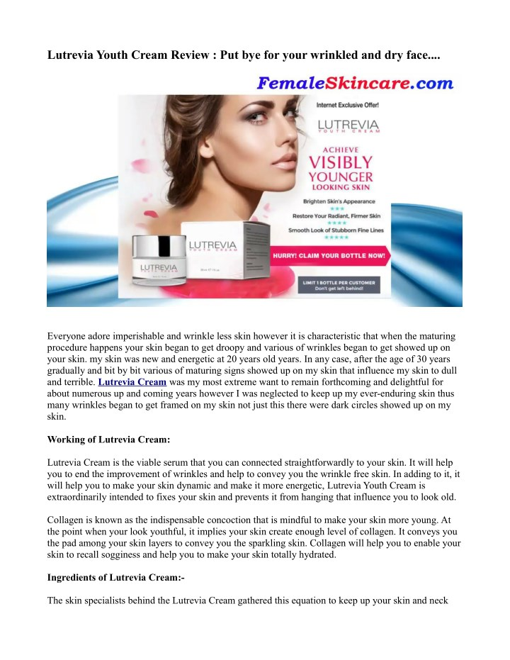 lutrevia youth cream review put bye for your n.