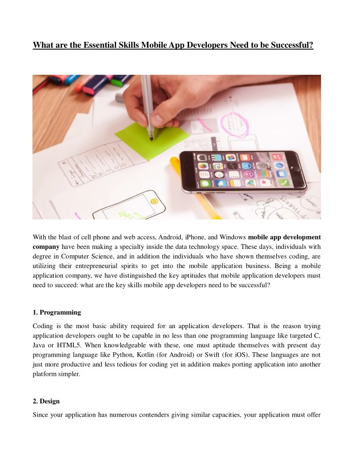 what are the essential skills mobile n.